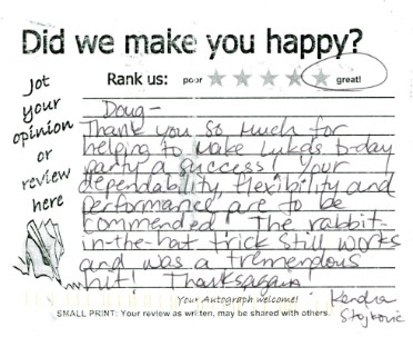 Kid's Magician Review Card for Doug Hoover